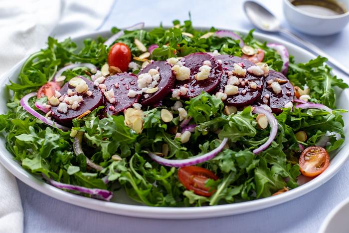 Sliced beets on a salad