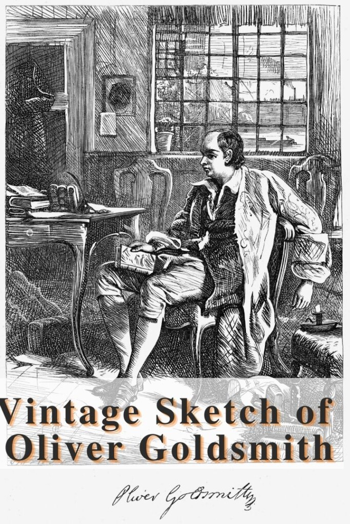 Vintage sketch of a man Oliver Goldsmith with text overlay