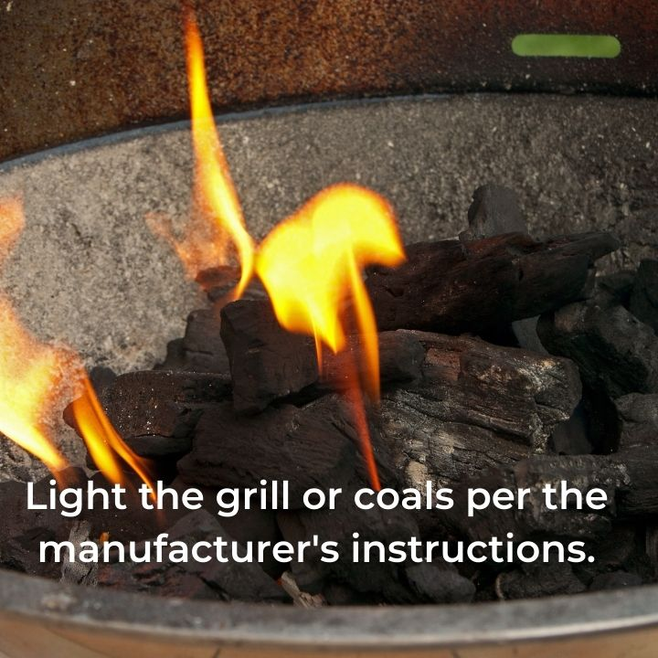 Flames from barbecue coals with text overlay