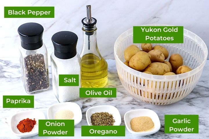 Potatoes and herbs, spices and oil with text banners