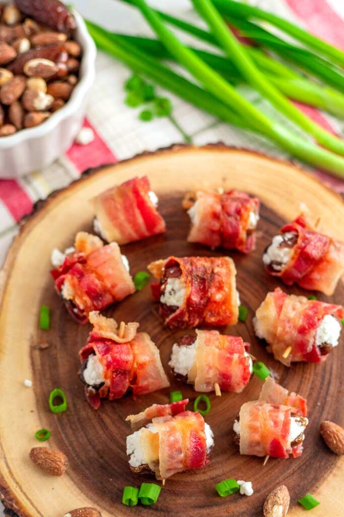 Bacon roll up appetizers on a plate