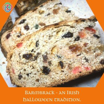 Slices of fruit bread with a text banner