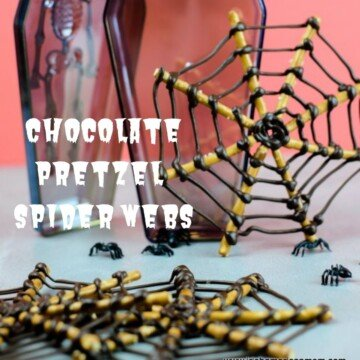 Pretzel and chocolate spider webs with text overlay