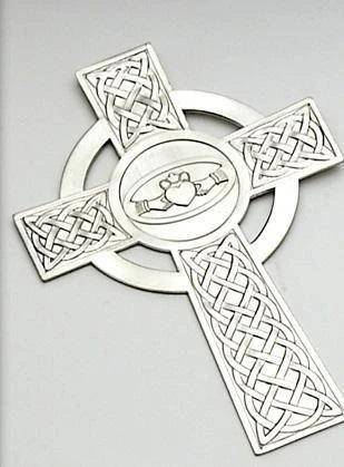 Metal Celtic Cross with Claddagh Design