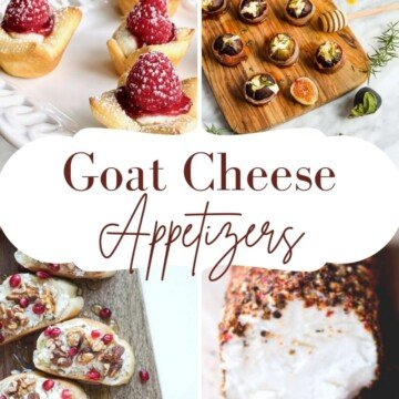 Photo collage featuring appetizers with a central text banner