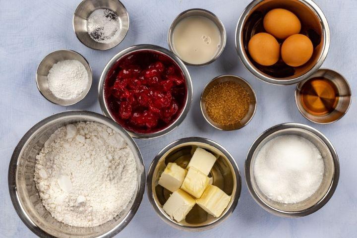 Bowls of cake ingredients