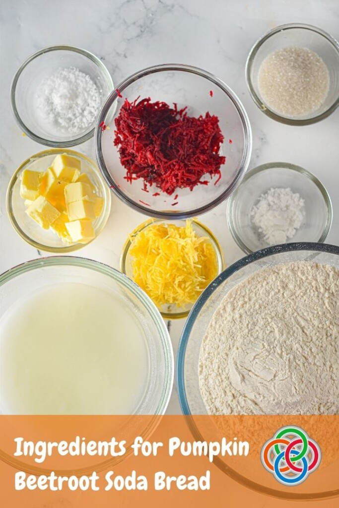 Bowls of flour, butter, sugar, baking soda, buttermilk and grated vegetables