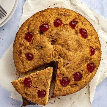 Cherry cake overhead shot