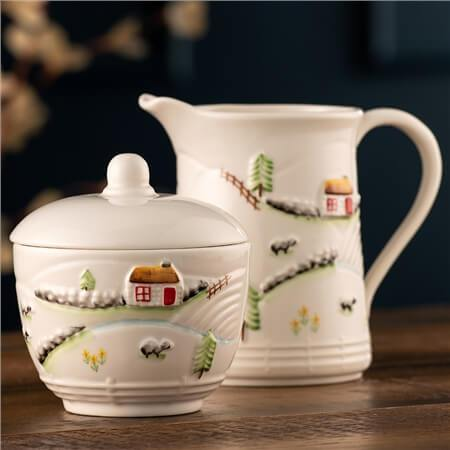 Creamer and sugar with cottage design