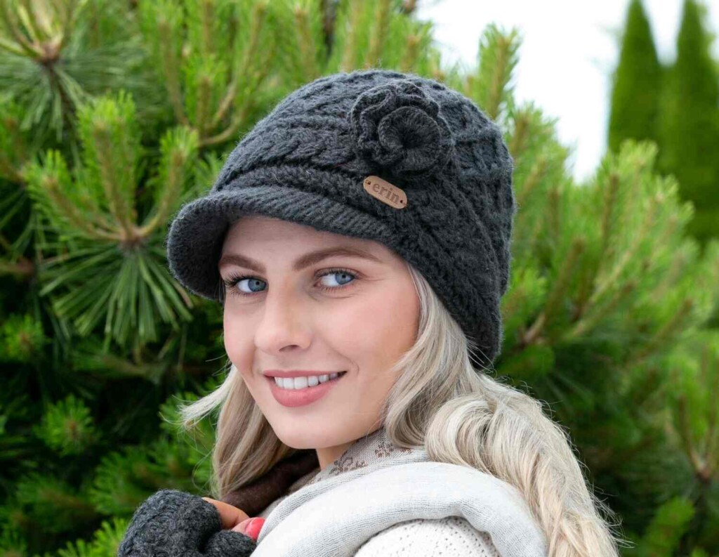 Woman wearing a peaked knitted hat