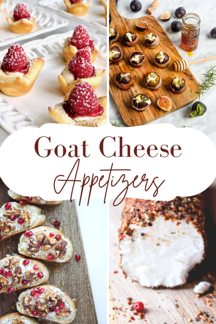 Photo collage of cheese appetizers with a central text banner