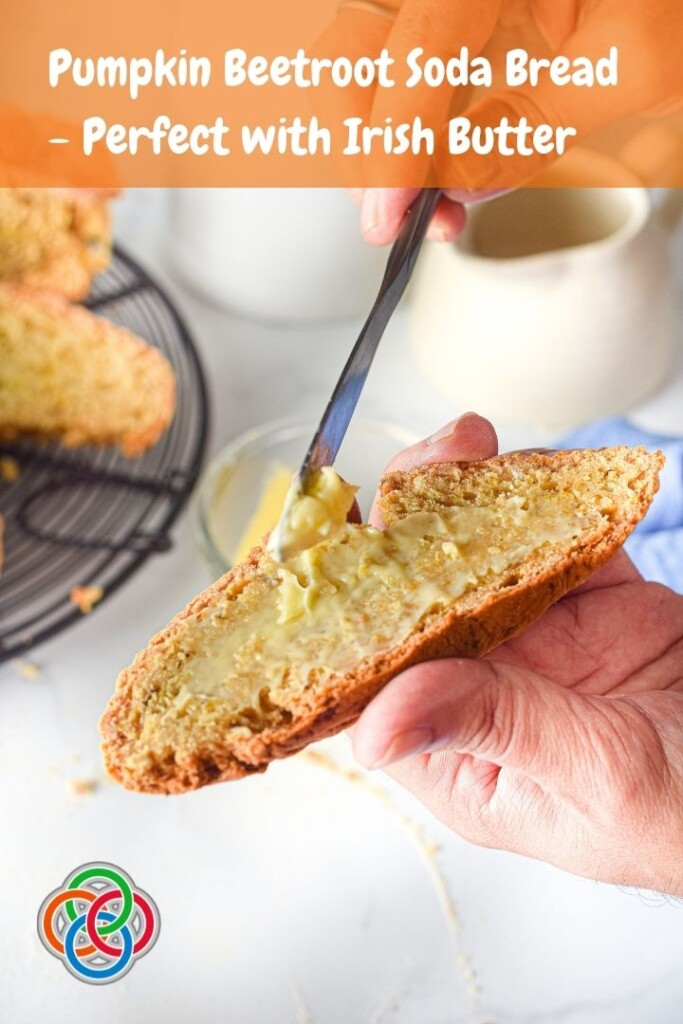 Buttering a slice of soda bread with a text banner